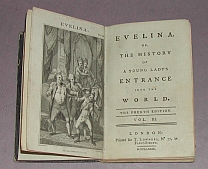 "Foto vom Buchdeckel von ""Frances Burney: Evelina, or, the history of a young lady's entrance into the world. Bd. 3"""