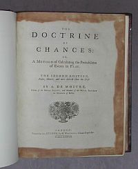 "Foto vom Titelblatt von ""Moivre, Abraham de: The doctrine of chances"""